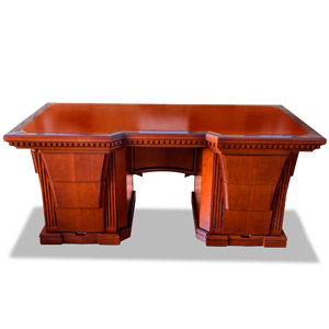 Room table with a genuine leather