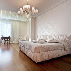 Gentle bedroom with textile design