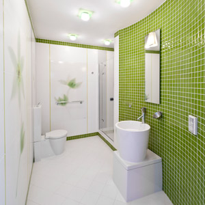 Bathroom with a glass mosaic