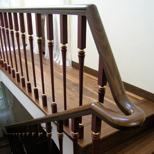 Original handrail of a ladder in a country house